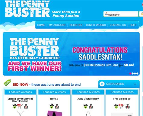 Gift Card Auction Sites - thepennybuster new penny auction offering gift cards jewelry and more penny