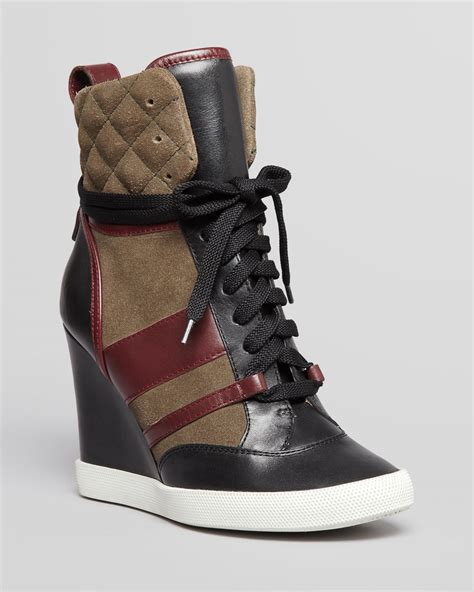 high top wedge sneakers lyst chlo 233 lace up high top wedge sneakers kasia in black