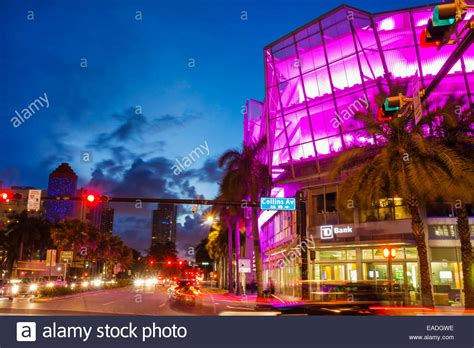 Traffic Search Miami Miami Florida 5th Fifth Dusk Evening Collins Stock Photo Royalty
