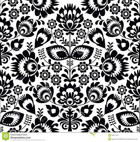 pattern paper black and white polish folk seamless pattern in black and white stock