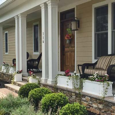 front porch planters for filling in space between porch