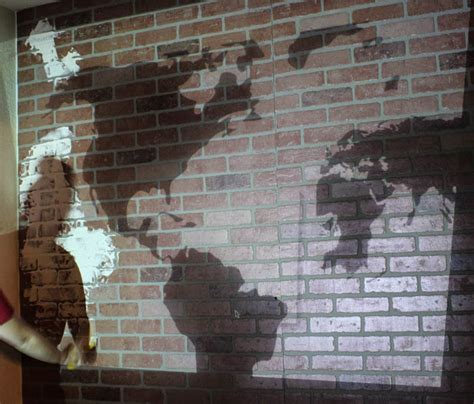 diy faux brick wall diy projects faux brick wall world map a giveaway clutter bloglovin