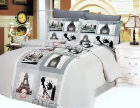 Eiffel Tower Duvet Set Gray Paris Eiffel Tower Teen Bedding 6pc Duvet Cover