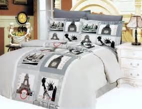 Gray paris eiffel tower teen girl bedding 6pc duvet cover set full