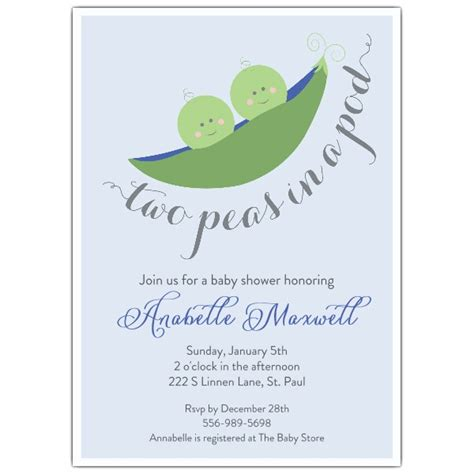 two peas in their pod two peas in the pod blue baby shower invitations paperstyle