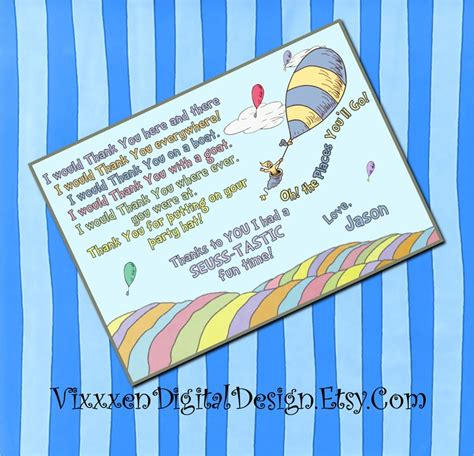 Dr Seuss Birthday Card Dr Seuss Thank You Card Ohthe Places You Ll Go Birthday