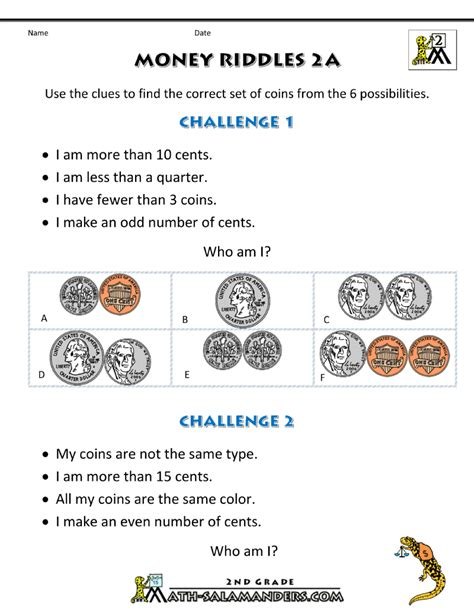 Money Worksheets 2nd Grade by 2nd Grade Math Worksheets Money Riddles 2a Gif 800 215 1 035