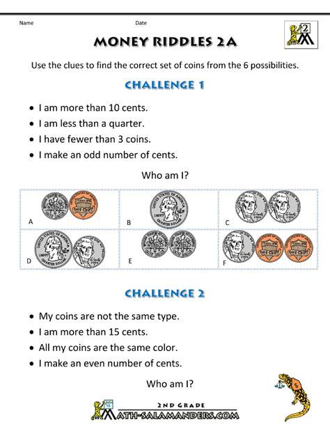 money math worksheets money riddles