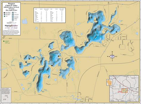 map o waupaca chain o lakes wall map
