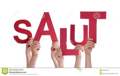 Character Means Letter Or Word holding word salut means hello stock image