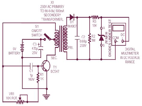 diode zener tester circuit diagram schematic design