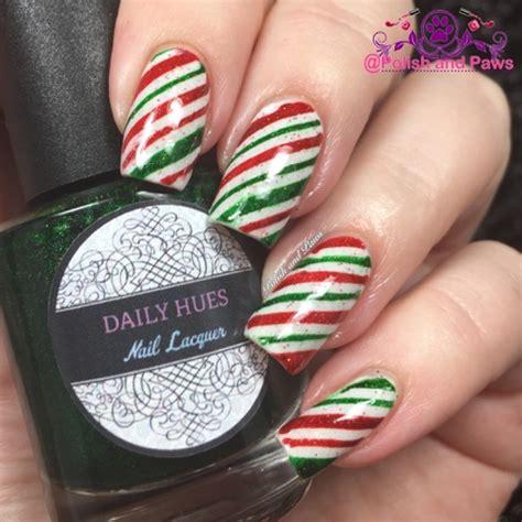 nail art ~ candy cane nails   polish and paws