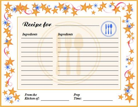 recipe card template recipe card dividers template
