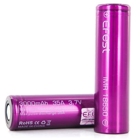 Efest Purple Imr 18650 Li Mn Battery 3 7v 30a efest purple imr 18650 li mn battery 3000mah 3 7v 35a with flat top 18650v1 purple