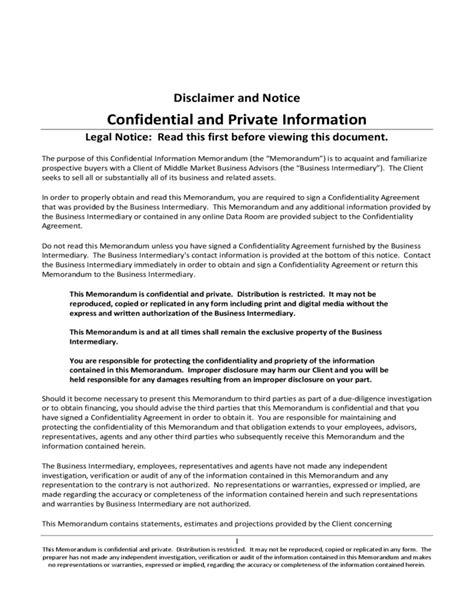 confidential information memorandum free