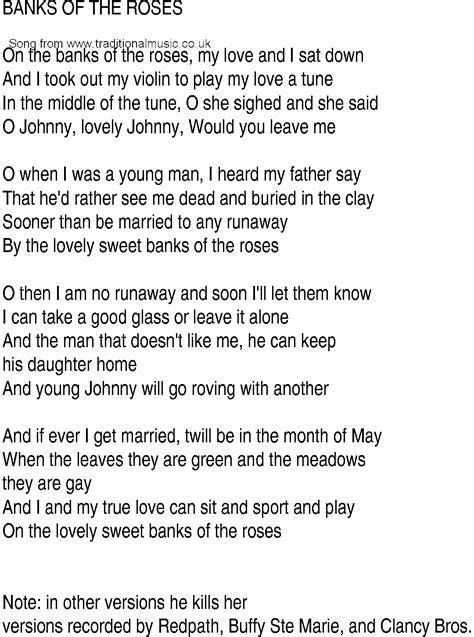 banks lyrics song and ballad lyrics for the banks of the