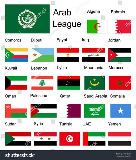 Arabic Flag Set 3in1 arab league arab member countries vector stock vector 230575921