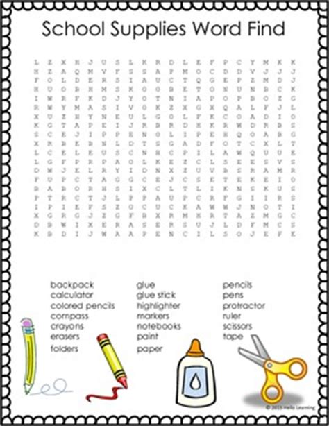 Find By School Freebie School Supply Word Search Back To School By Hello Learning Elementary