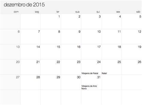 Calendario Dezembro 2015 Dezembro 2015 Calend 225 2015
