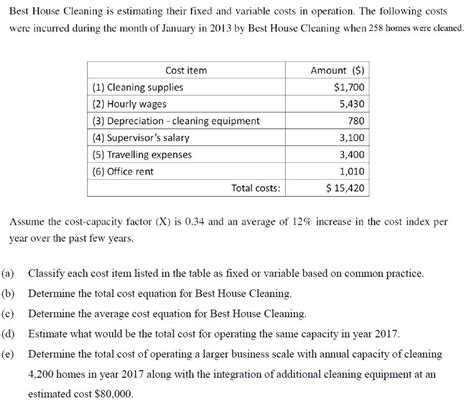 average house cleaning cost best house cleaning is estimating their fixed and chegg com
