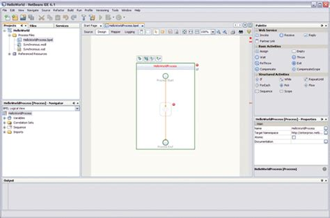 html design view netbeans creating a bpel module project using the bpel designer
