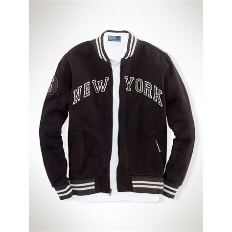 Sweater Baseball Polos Cotton Fleece lyst polo ralph ny fleece baseball jacket in black for