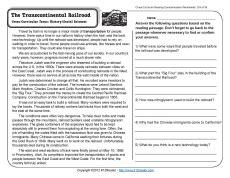transcontinental railroad 4th grade reading