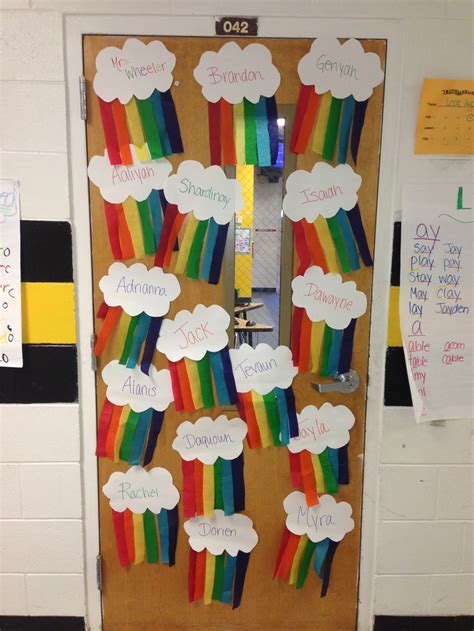 paper decorations for bedrooms rainbow classroom door decor classroom door decorating