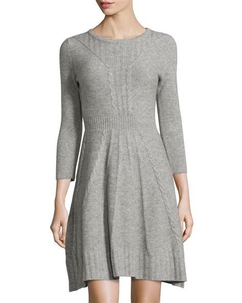 Dress With Cardigan 3 neiman 3 4 sleeve sweater dress in gray hther grey lyst