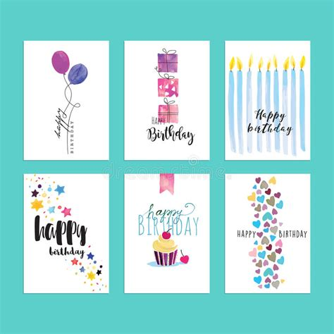 illustartor miss you card templates set of birthday greeting card templates stock vector