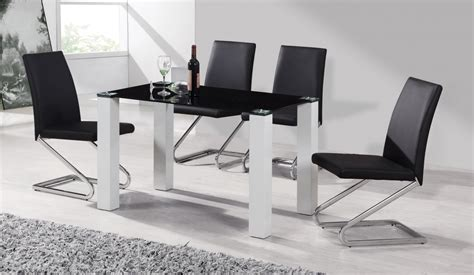 Black And White Dining Table And Chairs Black Glass White High Gloss Dining Table 4 Chairs Homegenies