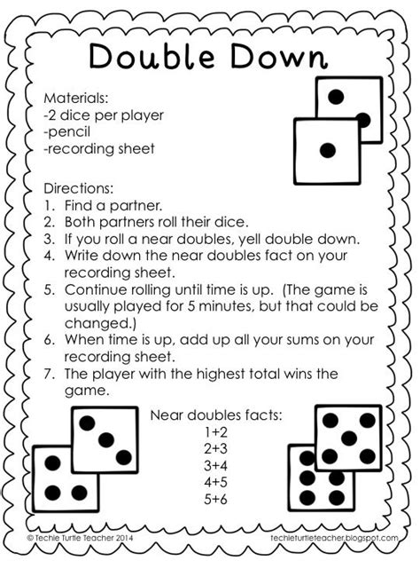 printable doubles games freebie double down game to practice adding near doubles