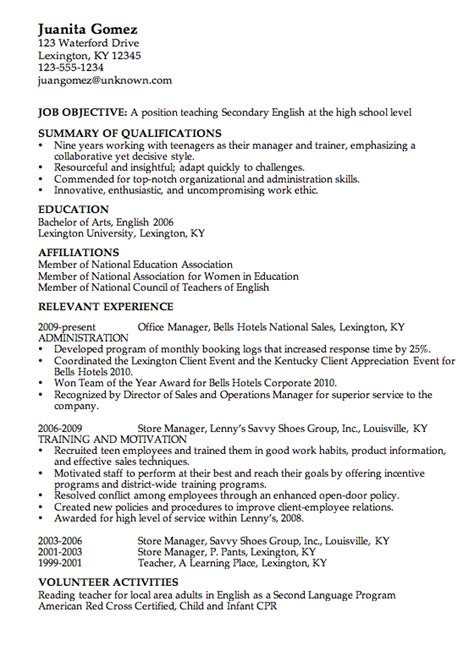 exle of a teachers resume in high school combination resume exle high school