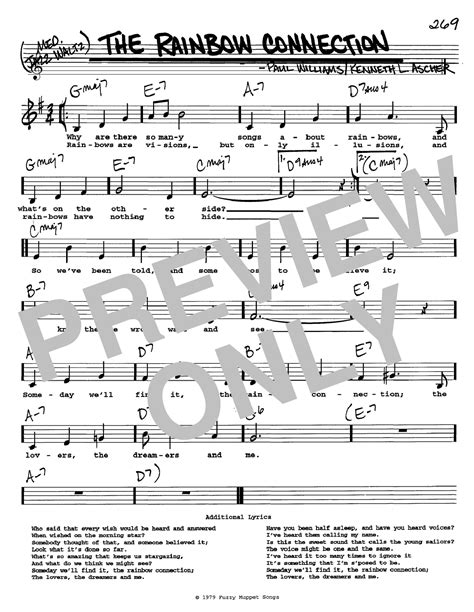 printable lyrics for rainbow connection the rainbow connection sheet music direct