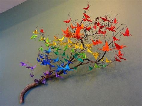 Origami Crane Tree - origami crane rainbow on a tree branch origami
