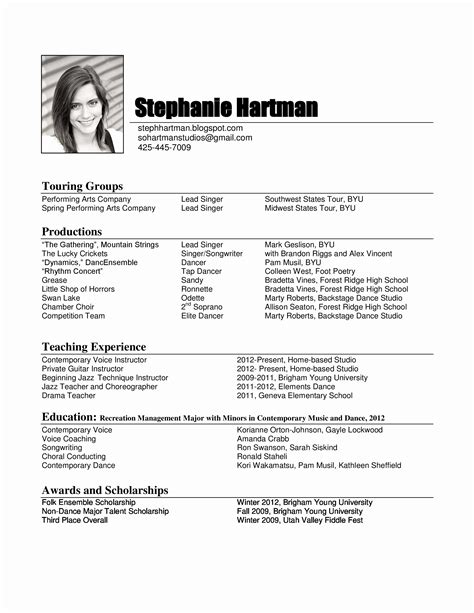 Sle Musical Theatre Resume Performance Resume Template 28 Images Certified