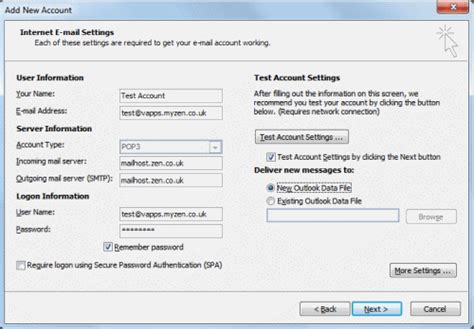 E Mail Address Finder Uk Broadband Email Setup A Legacy Email Address In Outlook 2010