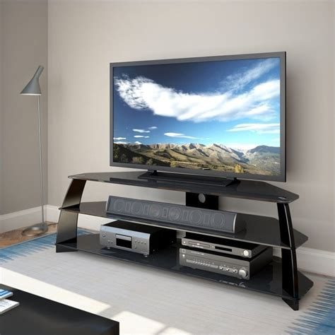 65 tv stands corliving 65 quot wide glossy tv stand in black