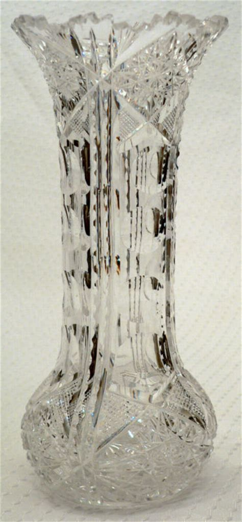 abp c1900 american cut glass vase hobstars puntie 8 for