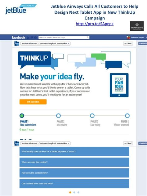Jetblue Facebook Giveaway - jetblue think up tablet ideas contest