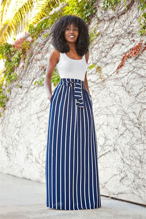 fitted tank vertical stripe maxi skirt style pantry