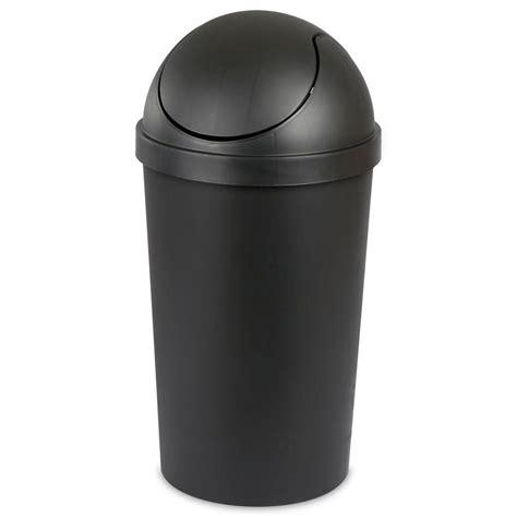 swing top trash can sterilite 10 5 gal black round swing top trash can