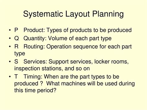 systematic layout planning adalah ppt traditional approaches to facility layout powerpoint