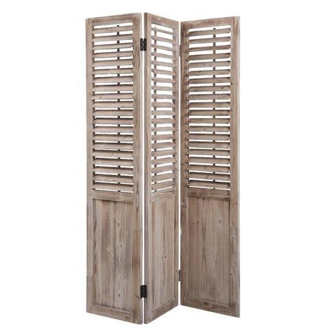 paravent de paravent 3 panneaux en bois vieilli