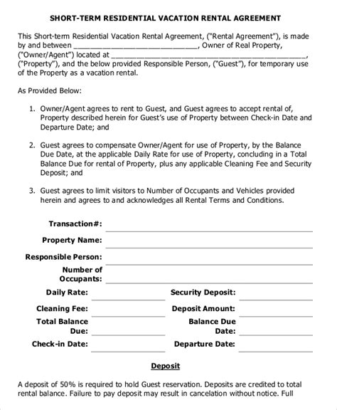Weekly Rental Agreement Template by 10 Vacation Rental Agreement Free Sle Exle