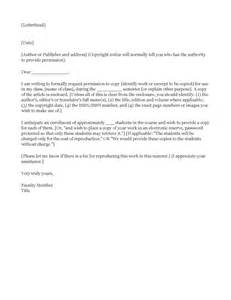 copyright permission letter template exle request to copyright holder