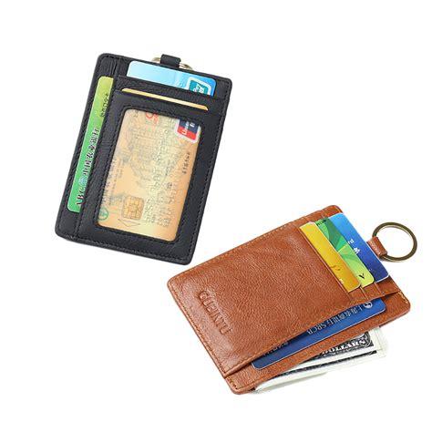 Card Holder Key Ring slim mens leather money clip rfid blocker wallet credit