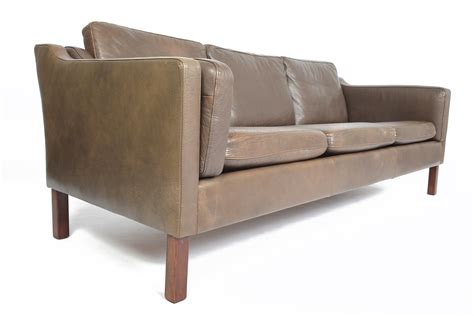 deep sofas for tall people danish mid century modern brown leather three seat sofa by