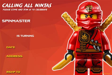Free Birthday Search Free Printable Lego Ninjago Birthday Invitations Infoinvitation Co
