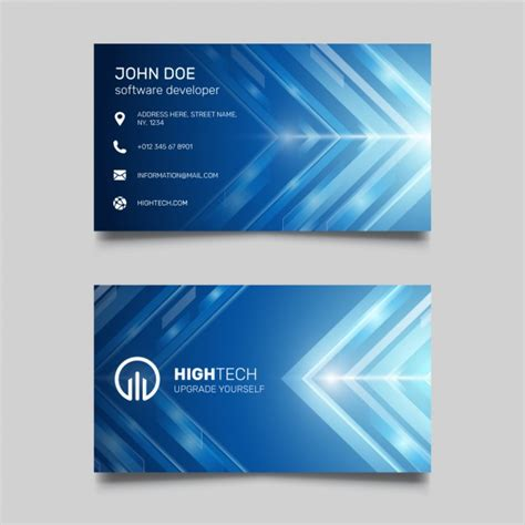 Template Para Tarjetas Bussines Card by Blue Business Card With Bright Lines Vector Free